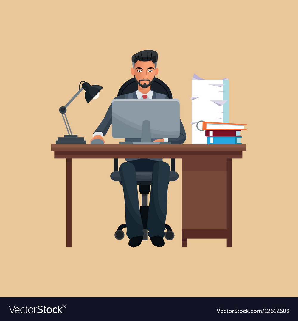 Groovy Man Business Office Sitting Work Laptop Desk Books Home Interior And Landscaping Eliaenasavecom