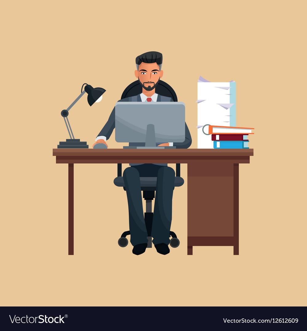 Astounding Man Business Office Sitting Work Laptop Desk Books Beutiful Home Inspiration Aditmahrainfo