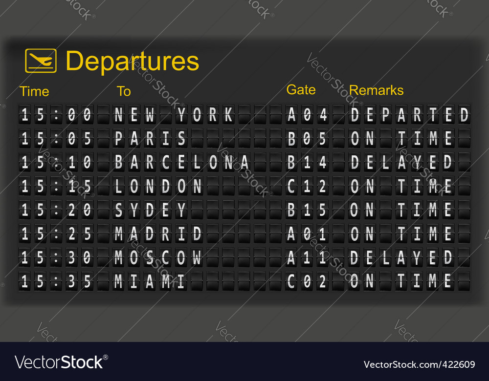 Mechanical departures board vector image