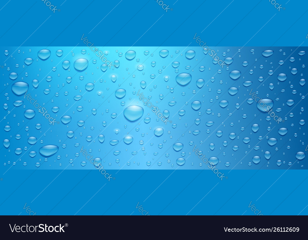 Realistic water drops on blue background three