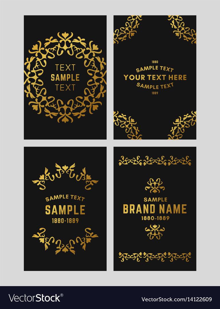Set of floral logo frame and monogram golden on