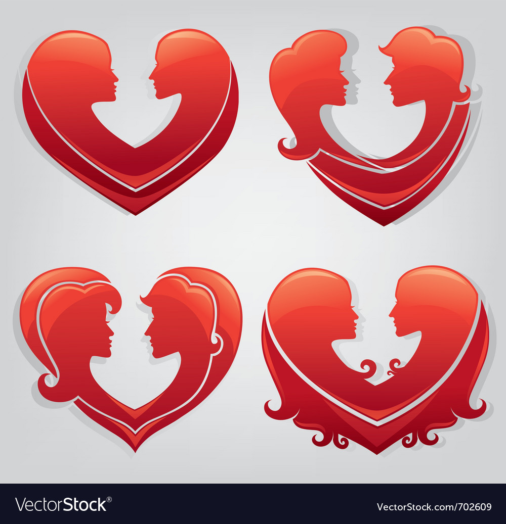 Stickers of love vector image