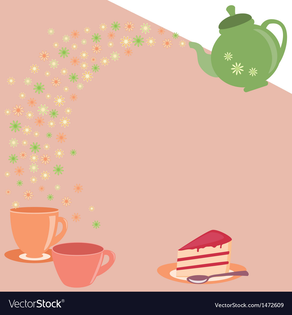 Tea card with teapot cups and flowers