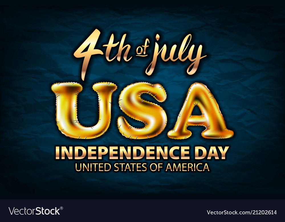 4 july usa independence day gold balloon golden