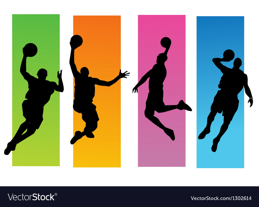 Basketballer silhouettes vector image