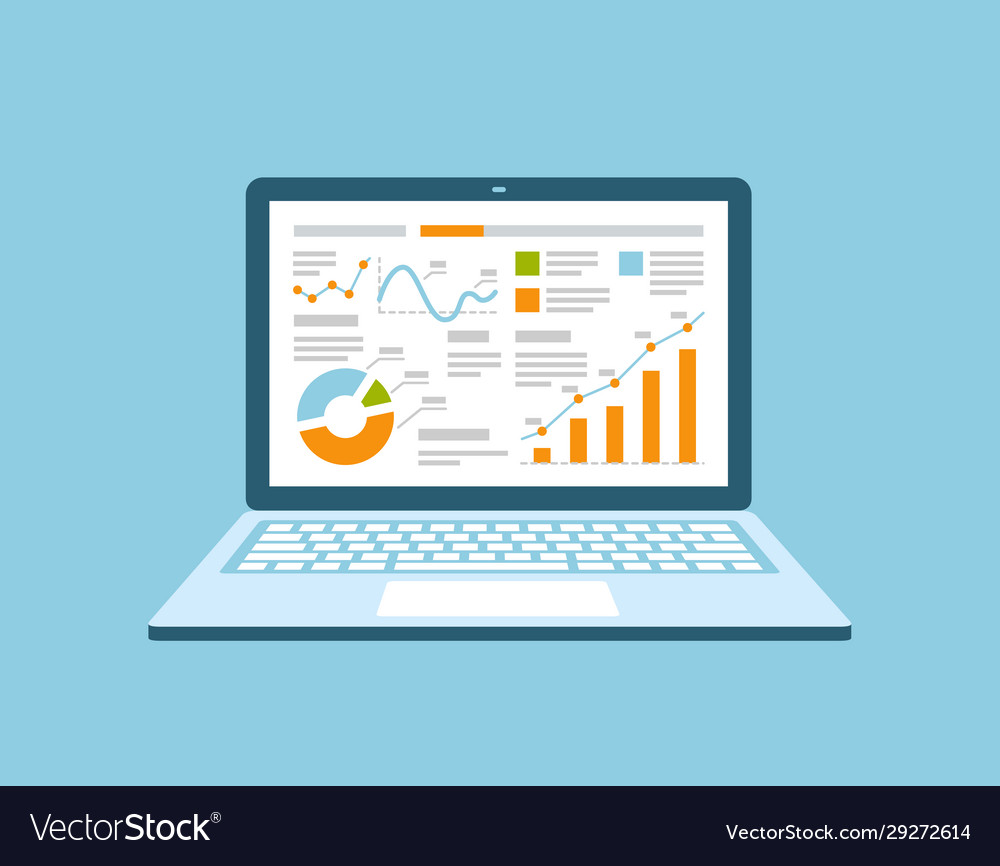 Business management on laptop analysis financial