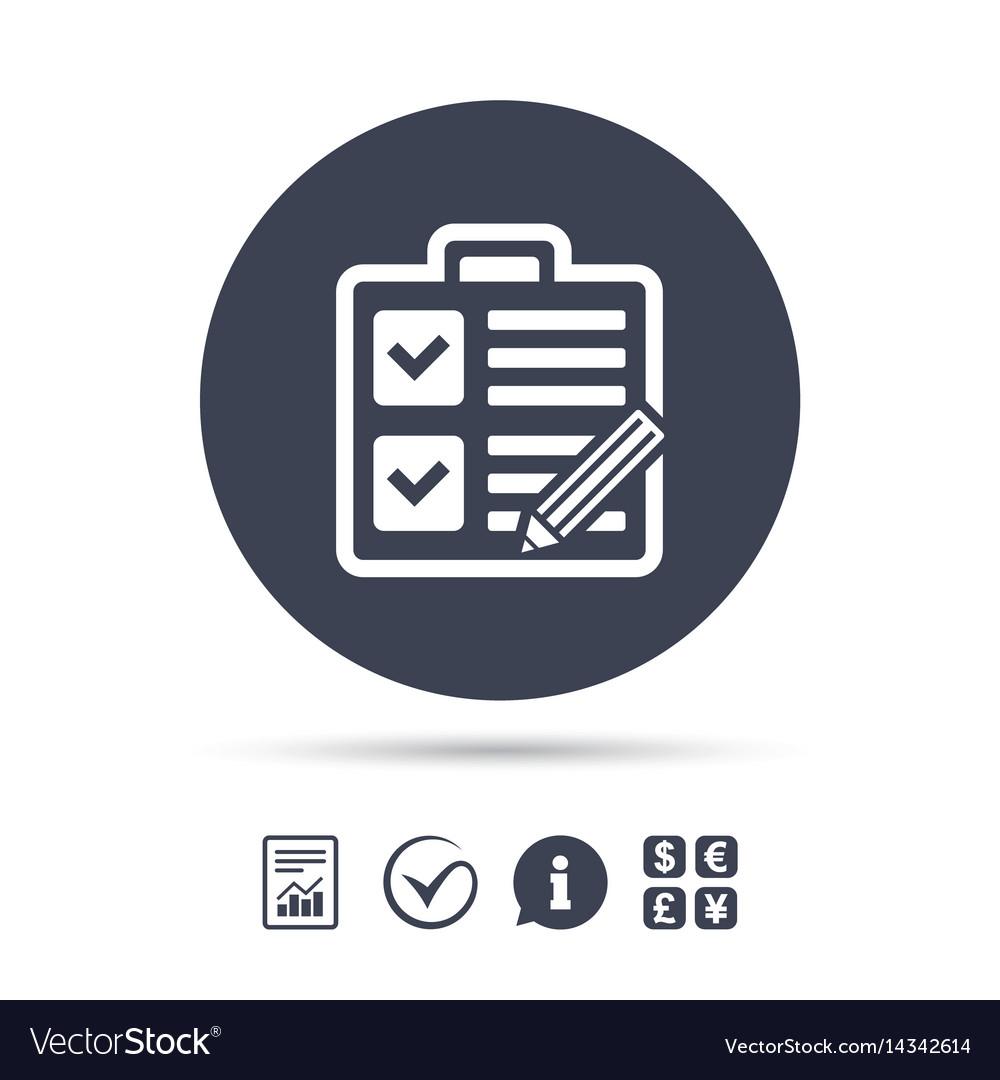 Checklist sign icon control list symbol