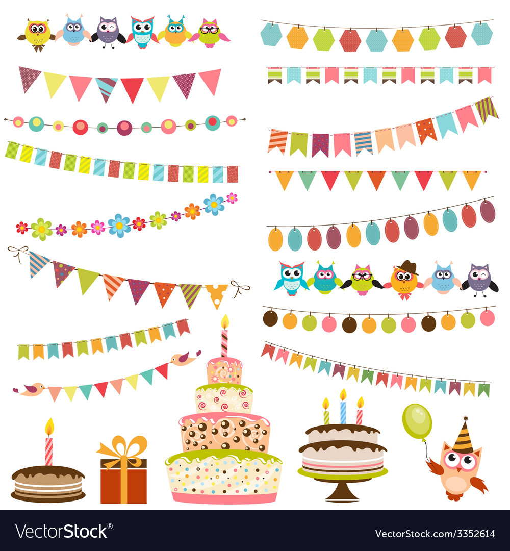 Color Birthday bunting set vector image