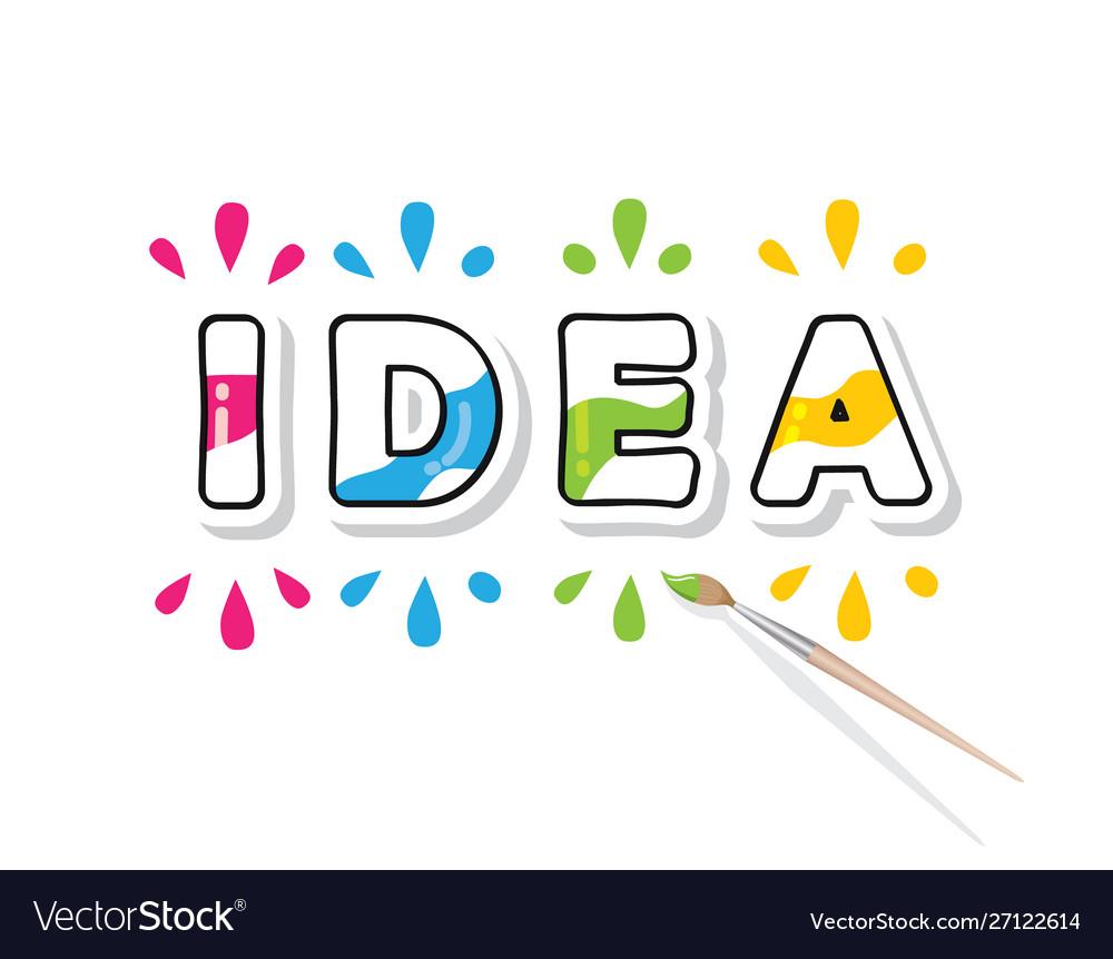 Creative idea consept colorful cartoon letters