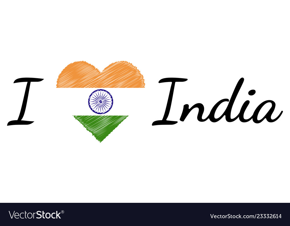 I love country india text heart doodle