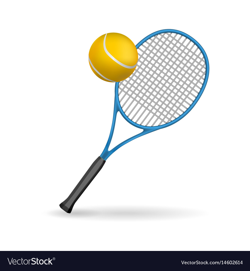 Isolated of a tennis racket and ball