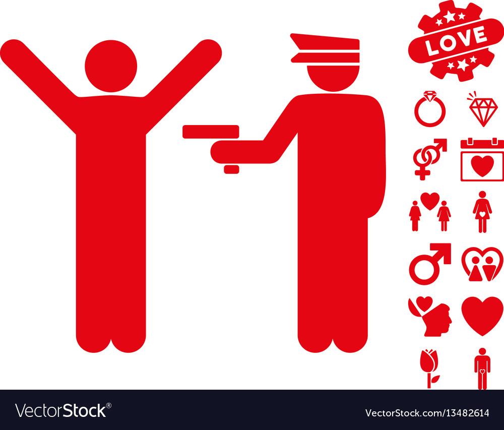 Police arrest icon with dating bonus