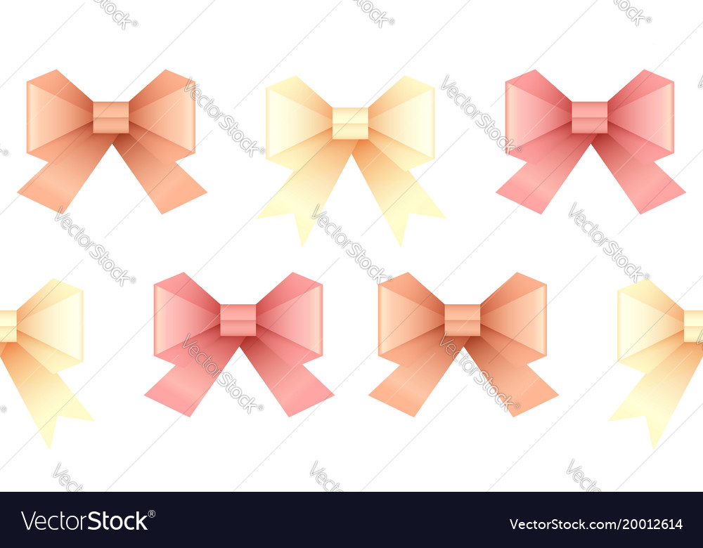Seamless Pattern With Paper Origami Bows For Your Vector Image