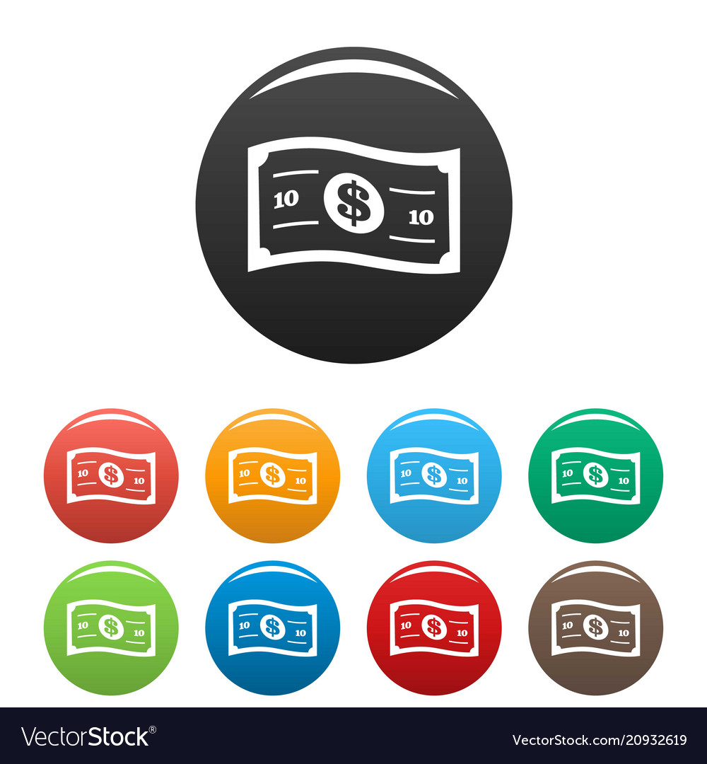 Banknote icons set color