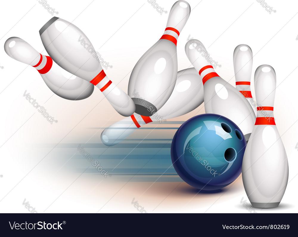 Bowling Ball Crashing Into The Pins Royalty Free Vector