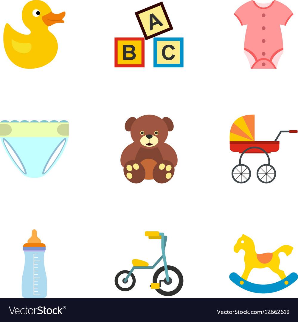 Child icons set flat style