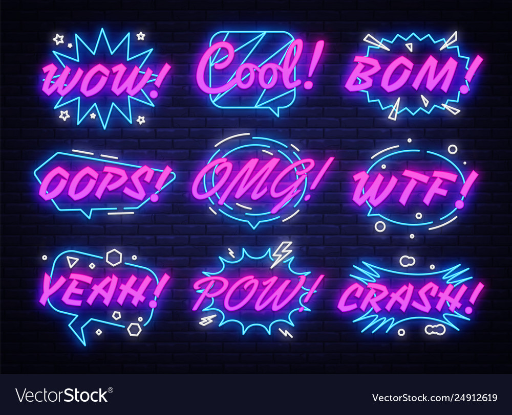 Comic bubbles set in neon style expressions cool