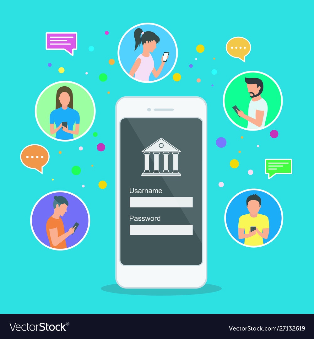 Mobile banking concept people