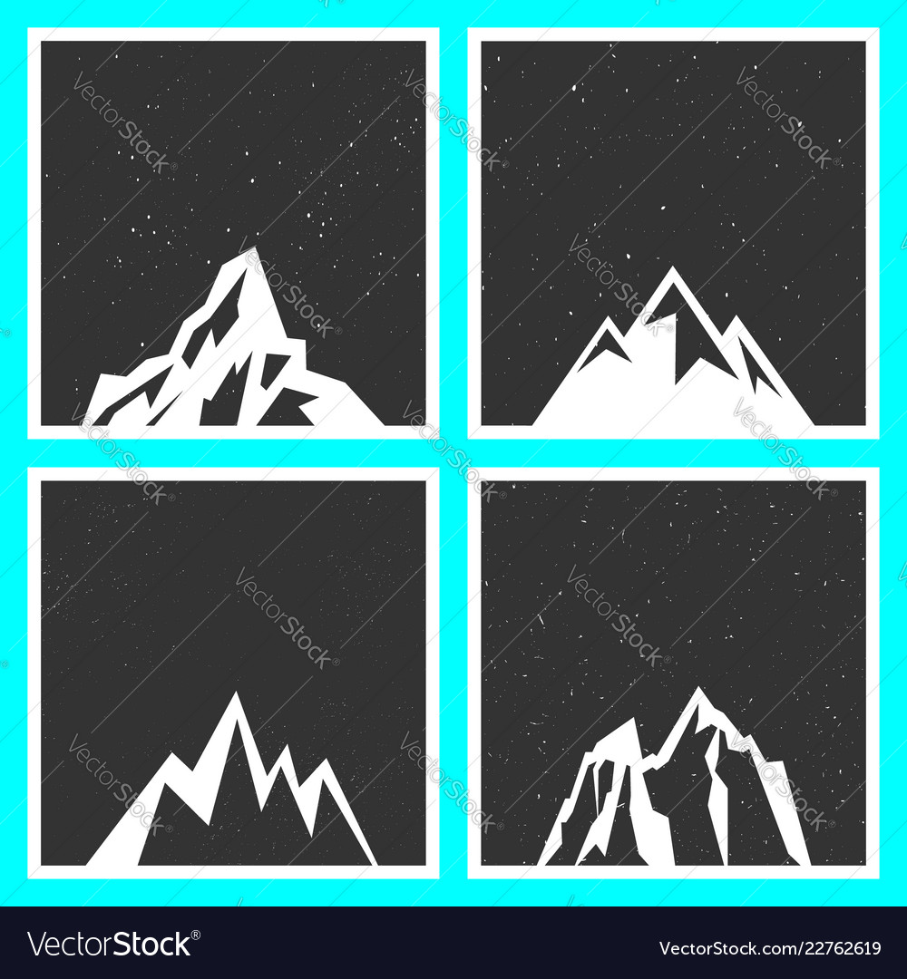 Mountain silhouette for stickers badges stamps