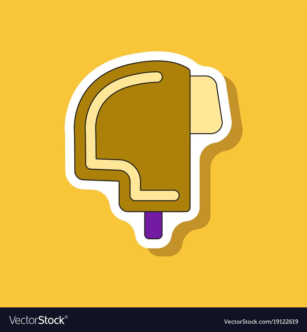 Paper Sticker On Stylish Background Ski Helmet Vector Image
