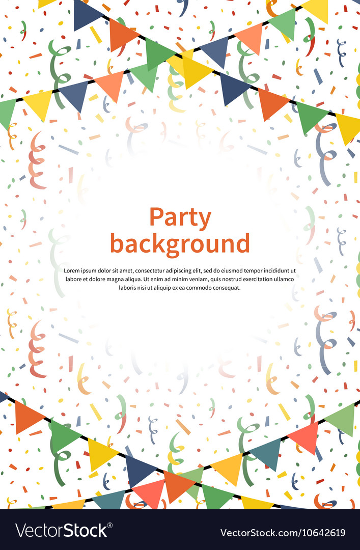 Party background with garlands and confetti on