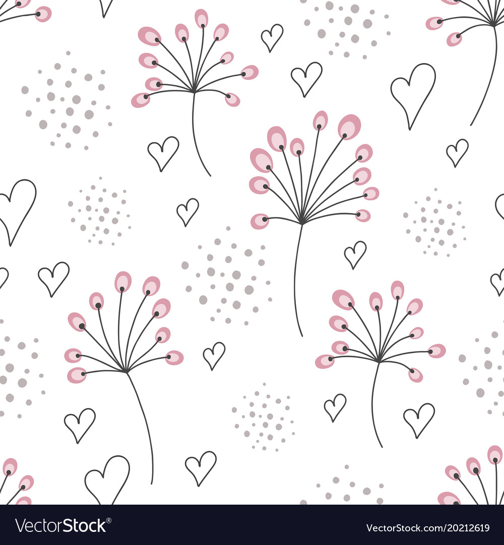 Seamless Abstract Floral Background Hand Draw