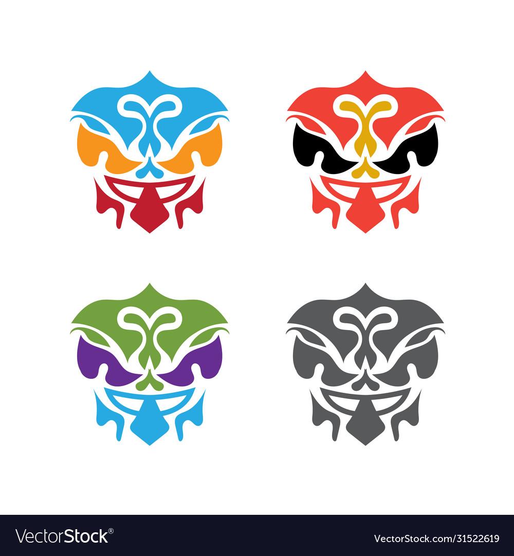 Set abstract polynesian masks design template