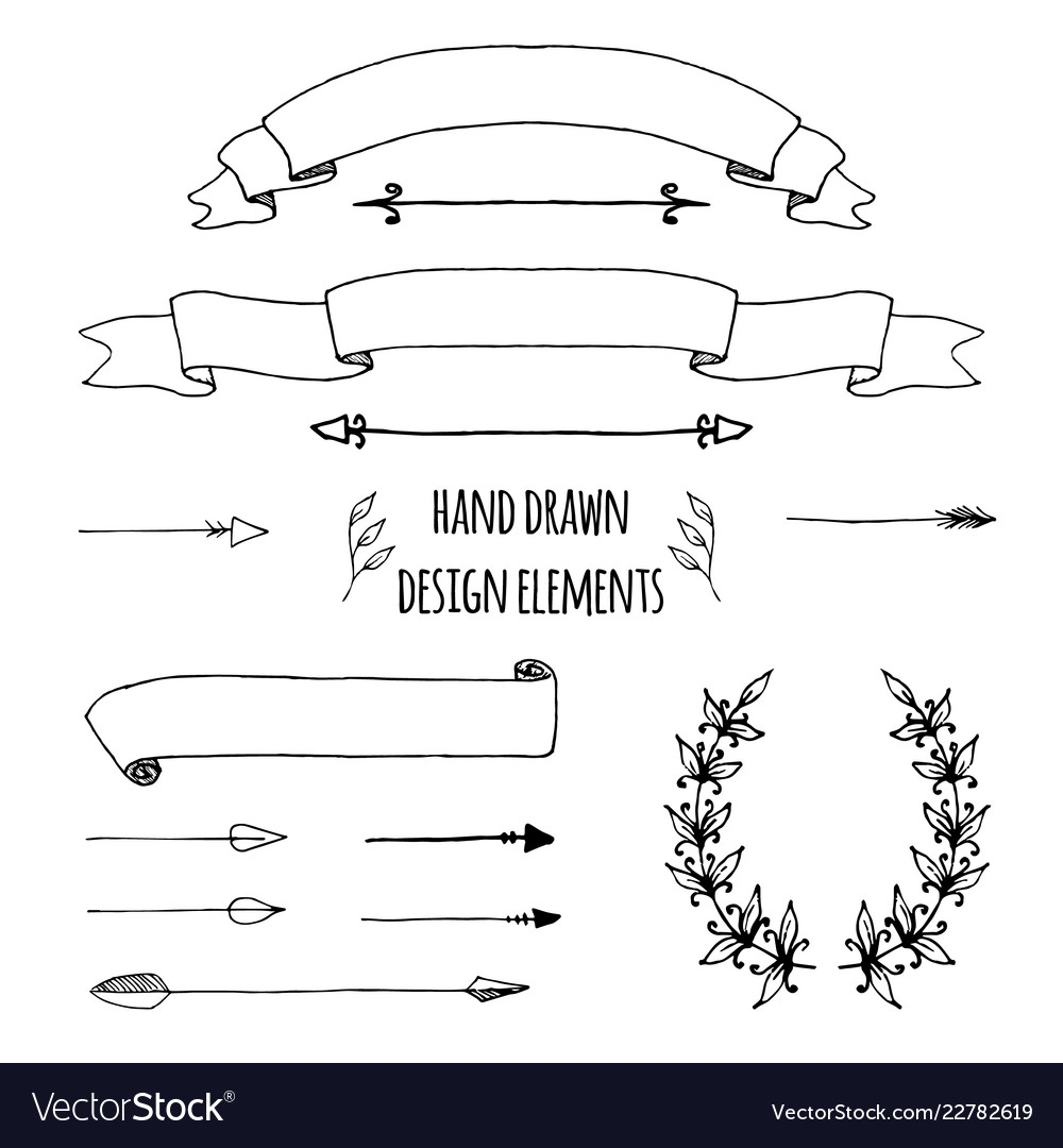 Set of handdrawn ribbons arrows laurel wreath