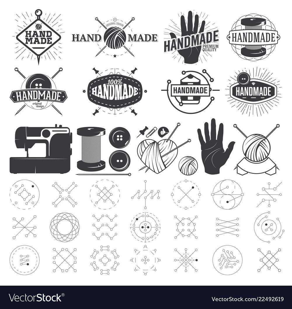 Vintage hand made logo labels badges and design