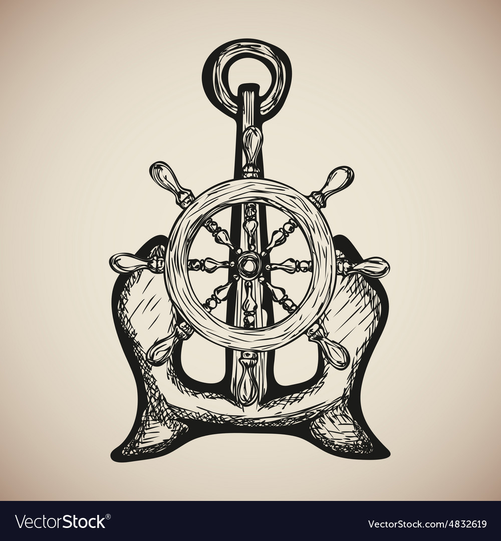 Vintage Marine Anchor with Steering Wheel isolated