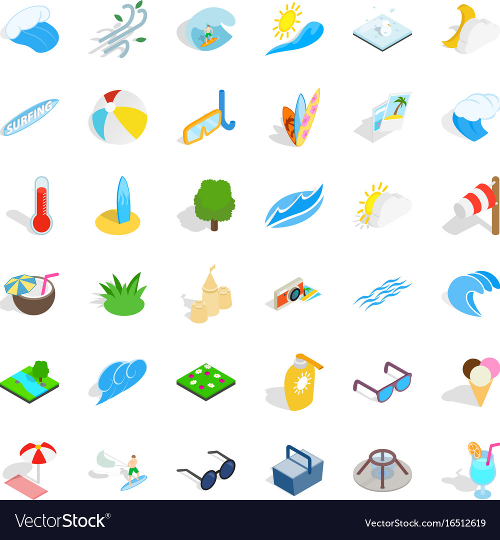 Water icons set isometric style vector image