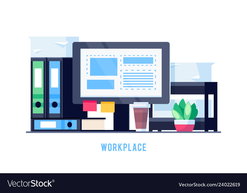 Workplace isolated on white background
