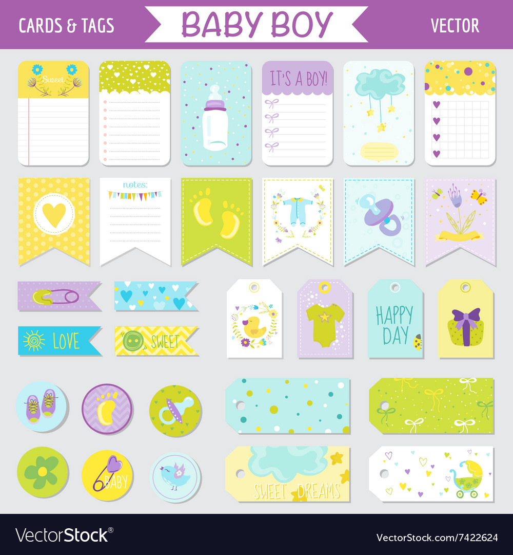 baby boy shower or arrival set tags banners vector image