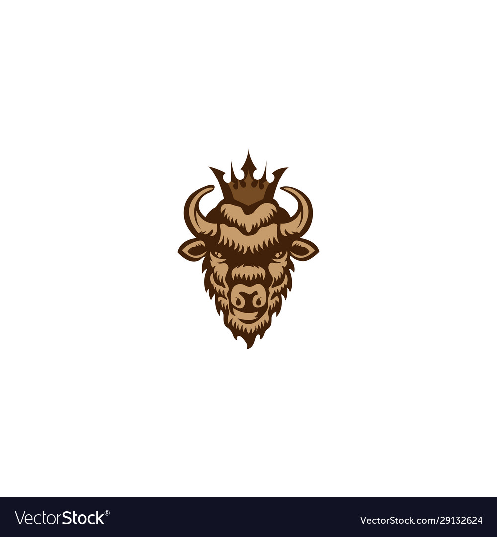 Bison king logo mascot vector