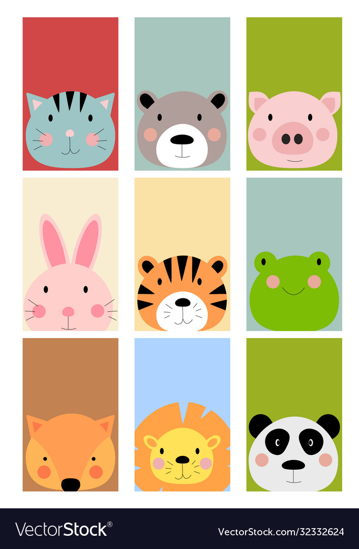 Card with cute hand drawn animals characters