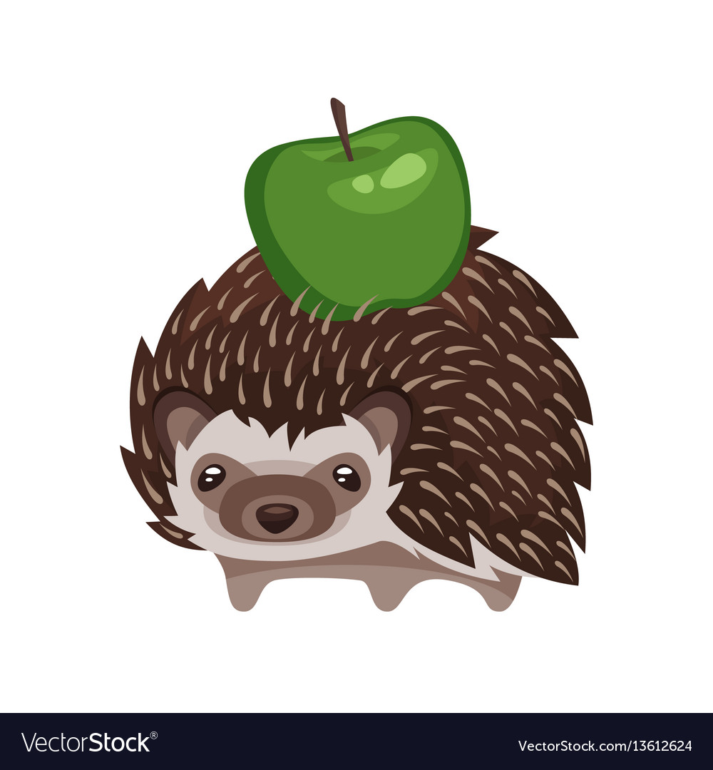Cartoon style of hedgehog with green apple