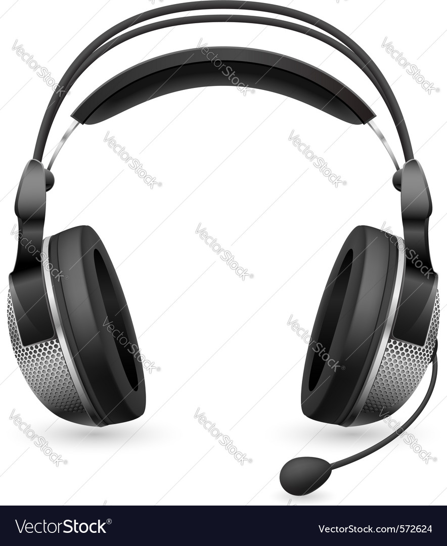 Computer Headset Microphone Royalty Free Vector Image