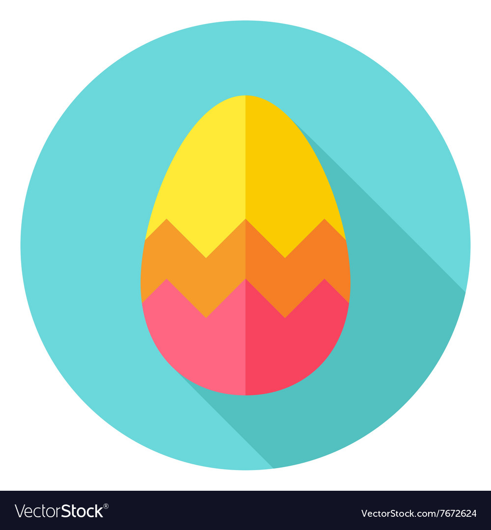 Easter Egg with Zigzag Decor Circle Icon