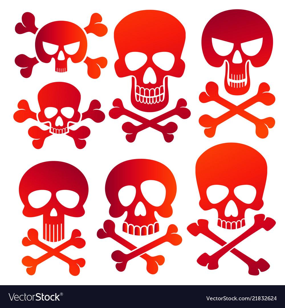 Human skulls danger colors skulls icons set