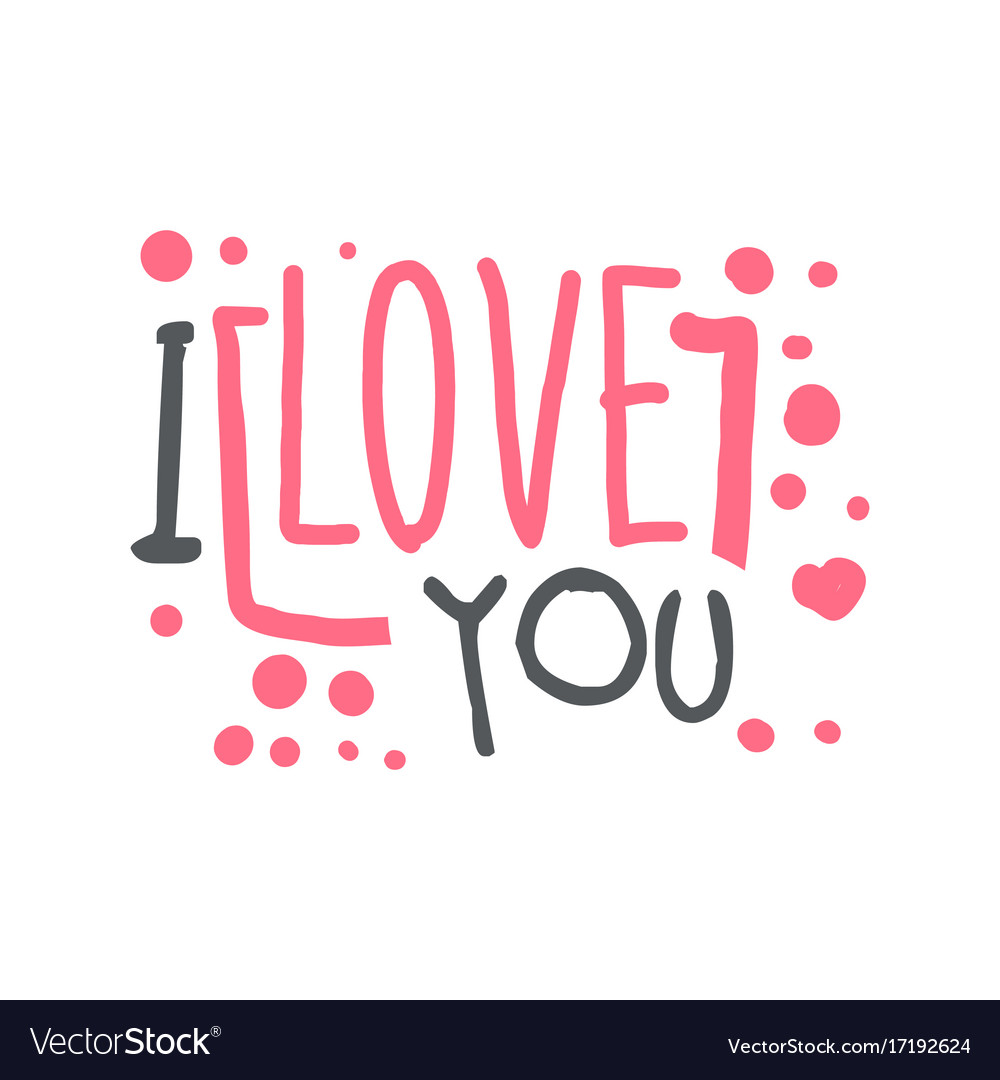 i love you logo template hand drawn royalty free vector