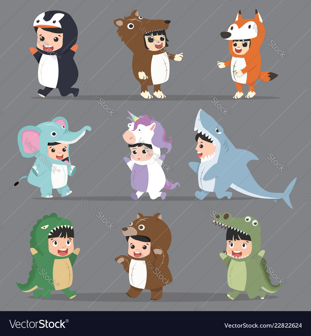 Kid characters in animals costumes set