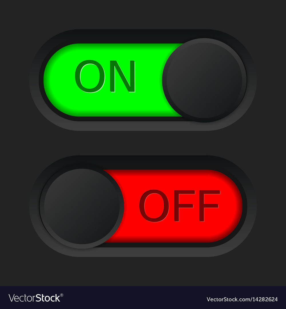 On and off toggle switch button red and green