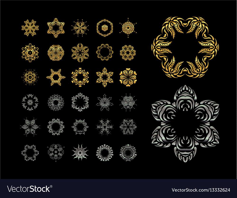 Ornamental lace pattern set gold silver mandala