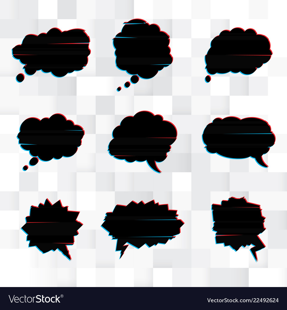 Set of black speech bubbles in the style of a