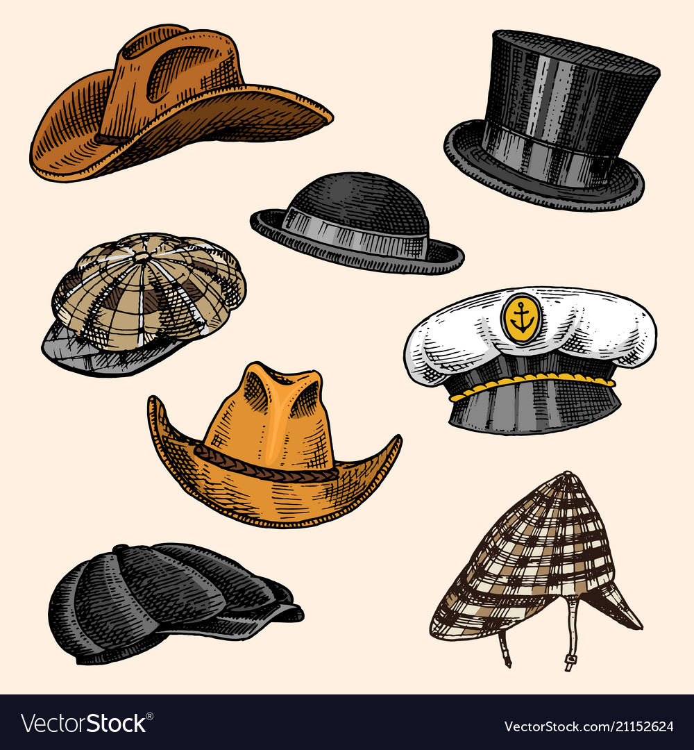 Summer Hats Vintage Collection For Elegant Men Vector Image