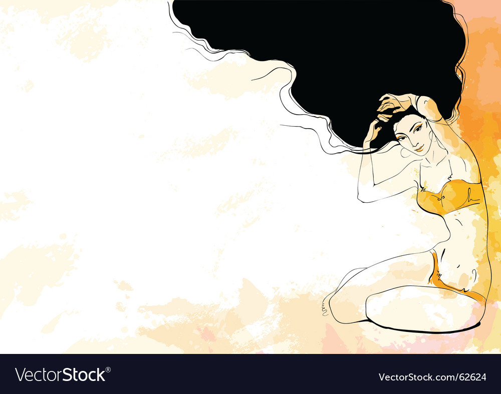 Women in orange lingerie vector image