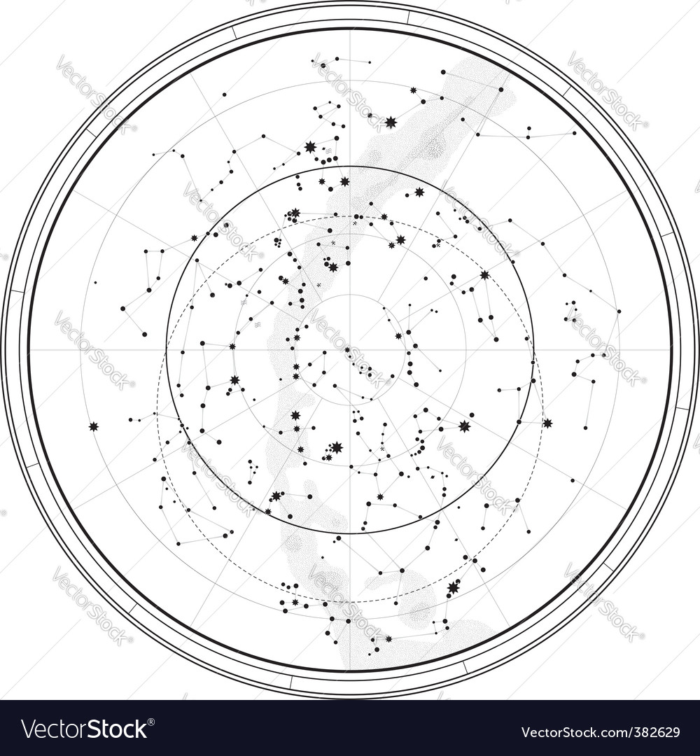 Astronomical celestial map Royalty Free Vector Image on