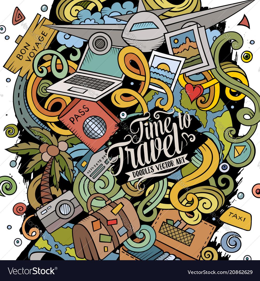 Cartoon doodles travel