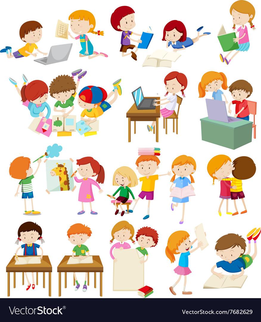 Children Doing Activities At School Royalty Free Vector