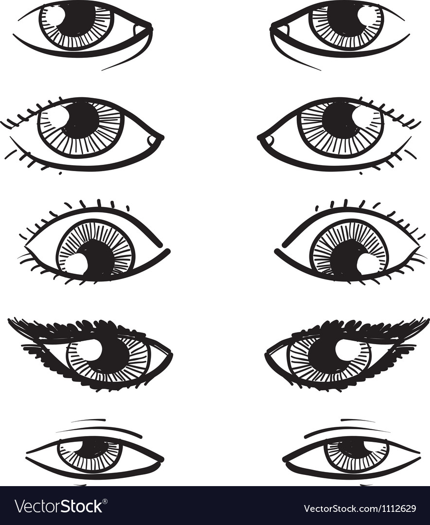 Doodle facial features eyes vector image